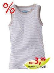 Baby und Kinder Unterhemd Bio-Baumwolle grau-weiß gestreift Gr. 74/80