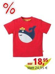 Frugi Baby und Kinder T-Shirt Wal Tomate Gr.3 (6-12 Monate)