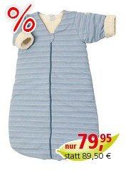 Schlafsack Baby, Baumwolle (kbA), blau-geringelt Gr.2 (90cm)
