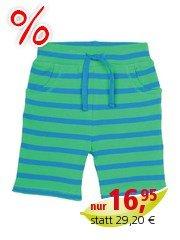 Frugi Baby und Kinder Bermuda grün-blue-geringelt Gr.2 (3-6 Monate)