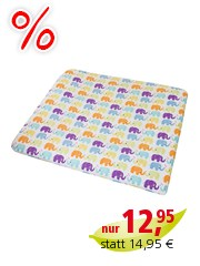 Wickelauflagenbezug Perkal, Babyelefanten (Bio-Baumwolle) 85 x 75 cm