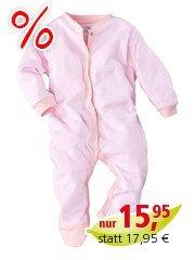 Baby Schlafanzug Bio-Baumwolle rose-weiß gestreift Gr. 62/68