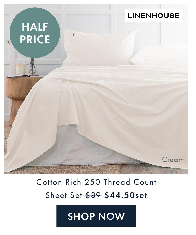 Half Price | Linen House Cotton Rich Sheet Set QB $44.50set | Shop Now