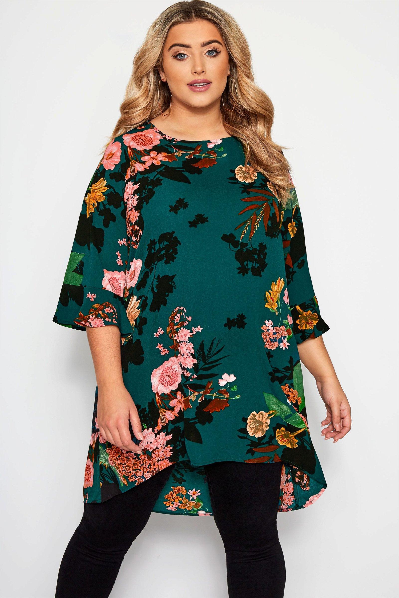 YOURS LONDON Bottle Green Floral Print Longline Blouse