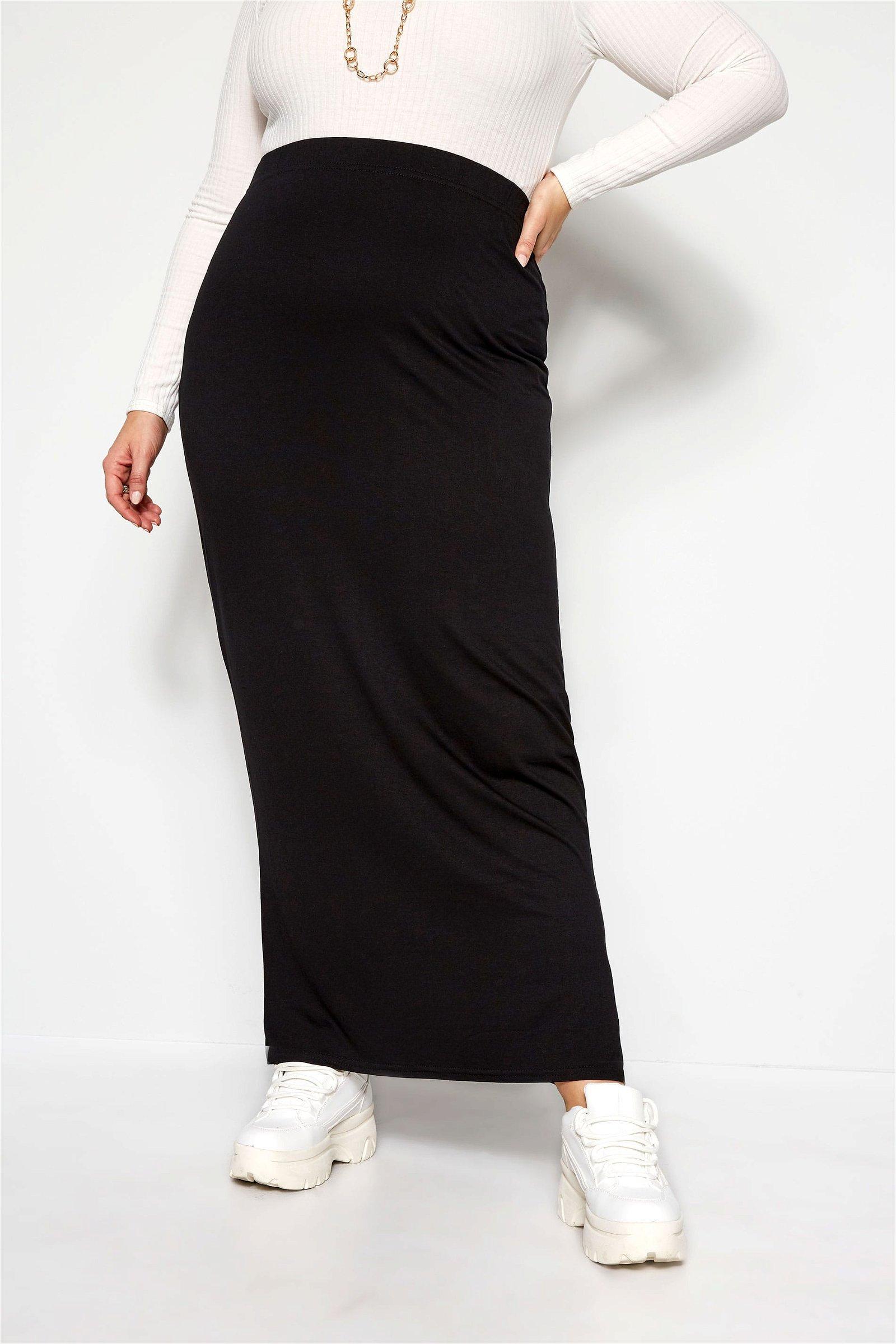 Black Jersey Maxi Tube Skirt