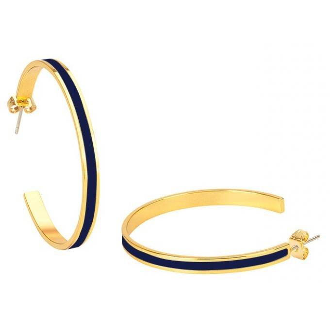 Boucles d'oreilles Bangle Up BUP09-BAN-OCR44 -  BANGLE Bleu Nuit créole acier doré émaillé