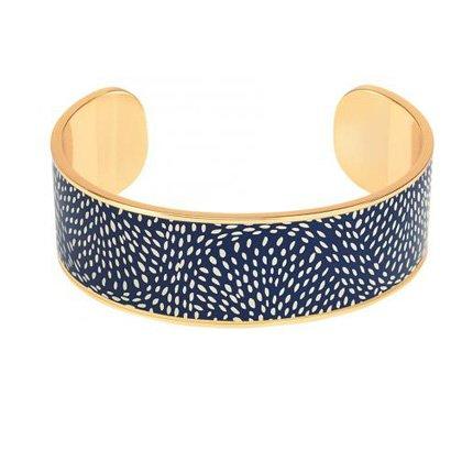 Bracelet Bangle Up BUP10-COS-BSO44 -  COSMOS Bleu Nuit Jonc ajustable laiton doré imprimé émaillé  Femme