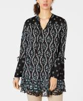 Style & Co Lace-Trimmed Bell-Sleeve Tunic Top, Created for Macy's