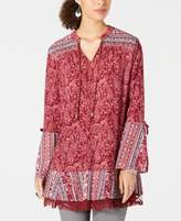 Style & Co Printed Lace-Trimmed Bell-Sleeve Tunic Top, Created for Macy's