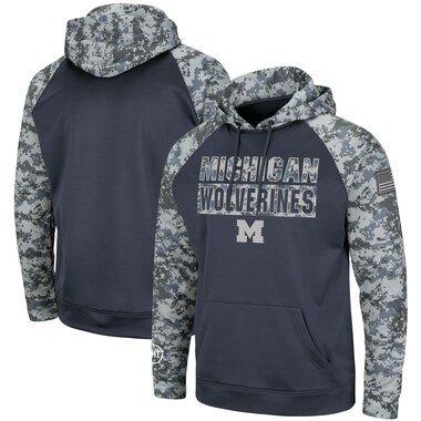 Michigan Wolverines Colosseum OHT Military Appreciation Digi Camo Raglan Pullover Hoodie - Charcoal/Camo