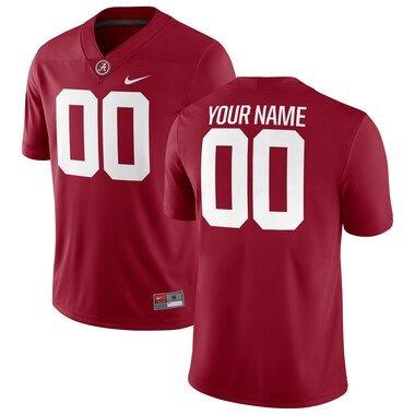 Alabama Crimson Tide Nike Football Custom Game Jersey - Crimson