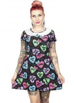 Creepy Candy Hearts A-Line Collar Mini Dress