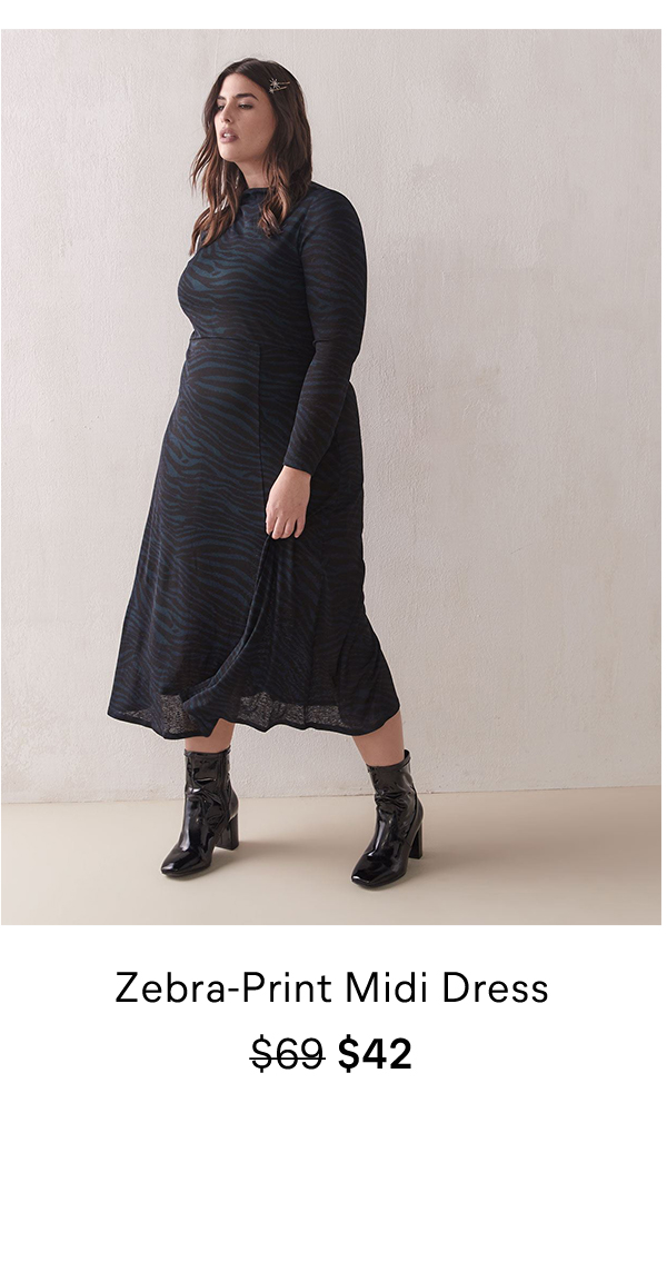 Zebra-Print Midi Dress $69 $42