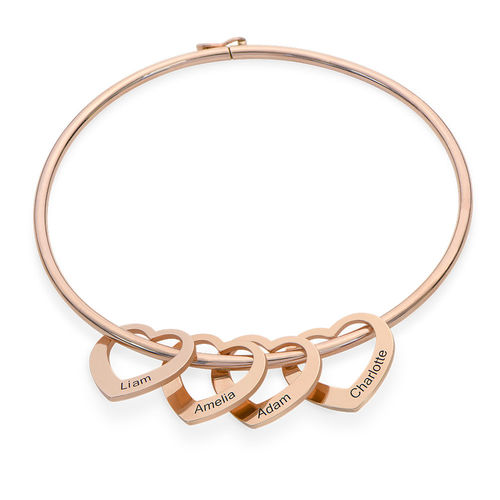 Bangle Bracelet with Heart Shape Pendants in Rose Gold Plating