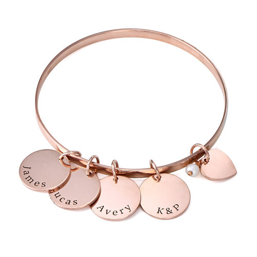 Bangle Bracelet with Personalised Pendants in Rose Gold Plating