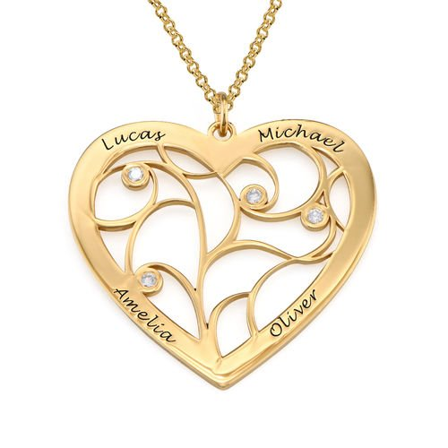 Heart Family Tree Necklace with Diamonds in Gold Plating