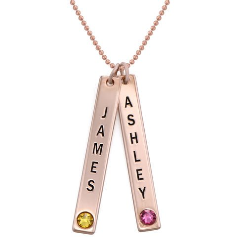 Vertical Bar Necklace with Swarovski in Rose Gold Plating