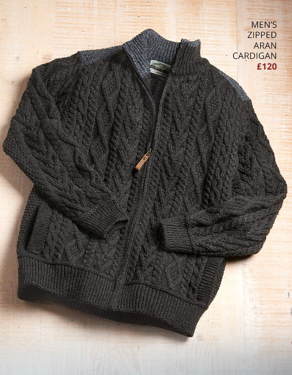 Men's Zipped Aran Cardigan £120