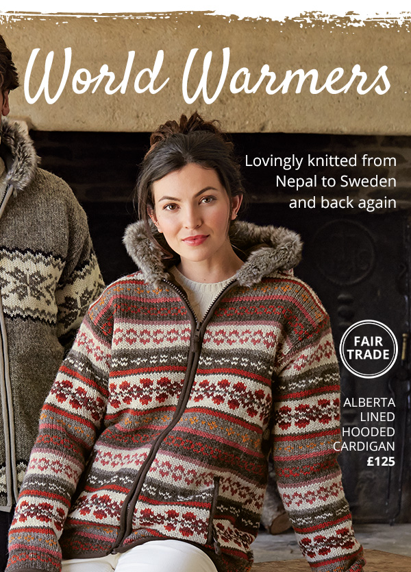 World Warmers - Lovingly knitted from Nepal to Sweden and back again - Alberta  Lined  Hooded Cardigan £125