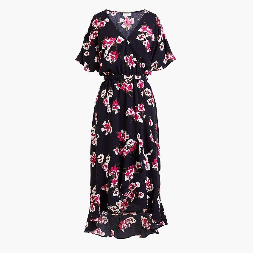 High-low faux-wrap dress