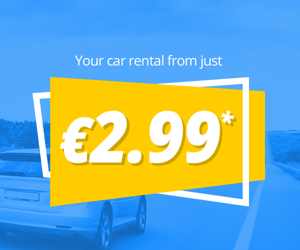 Your car rental from just €2.99