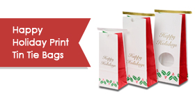 Happy Holidays Print Tin Tie Bags