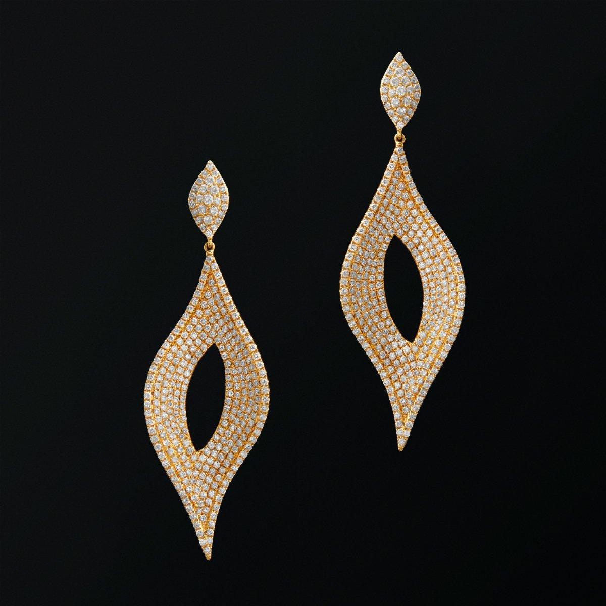 14KT Yellow Gold Diamond Masquerade Earrings