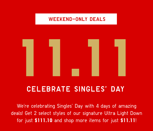SUBHEADER - 11/11 CELEBRATE SINGLES' DAY