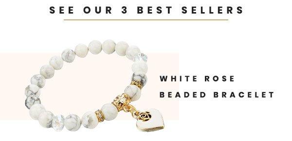 White Rose Beaded Bracelet