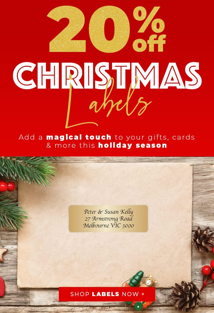 20% Off Christmas Labels! Add a magical touch to your gifts, cards and more this holiday season