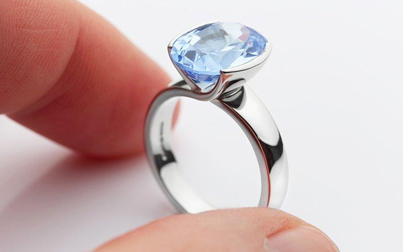 Bespoke Platinum Aquamarine Ring