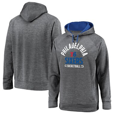 Men's Fanatics Branded Gray Philadelphia 76ers Battle Charged Pullover Hoodie