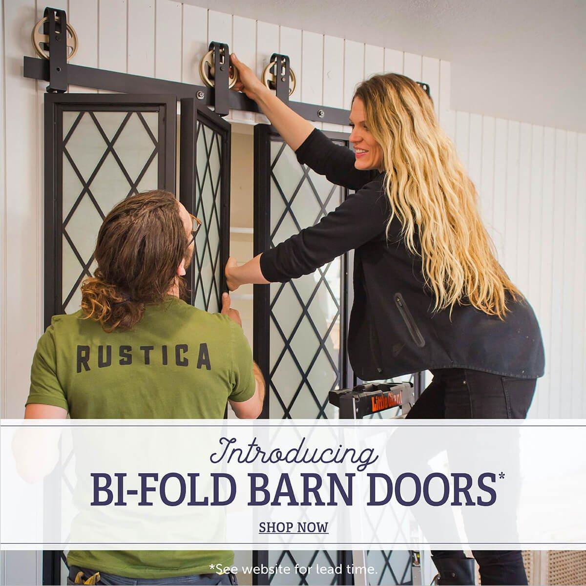 Introducing Bi-Fold Barn Doors* Shop Now. *See Website for Details