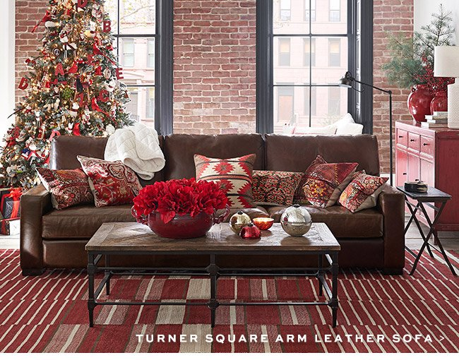 TURNER SQUARE ARM LEATHER SOFA >
