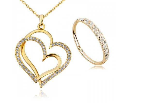 Gold Plated Twin Heart Pendant & Bangle