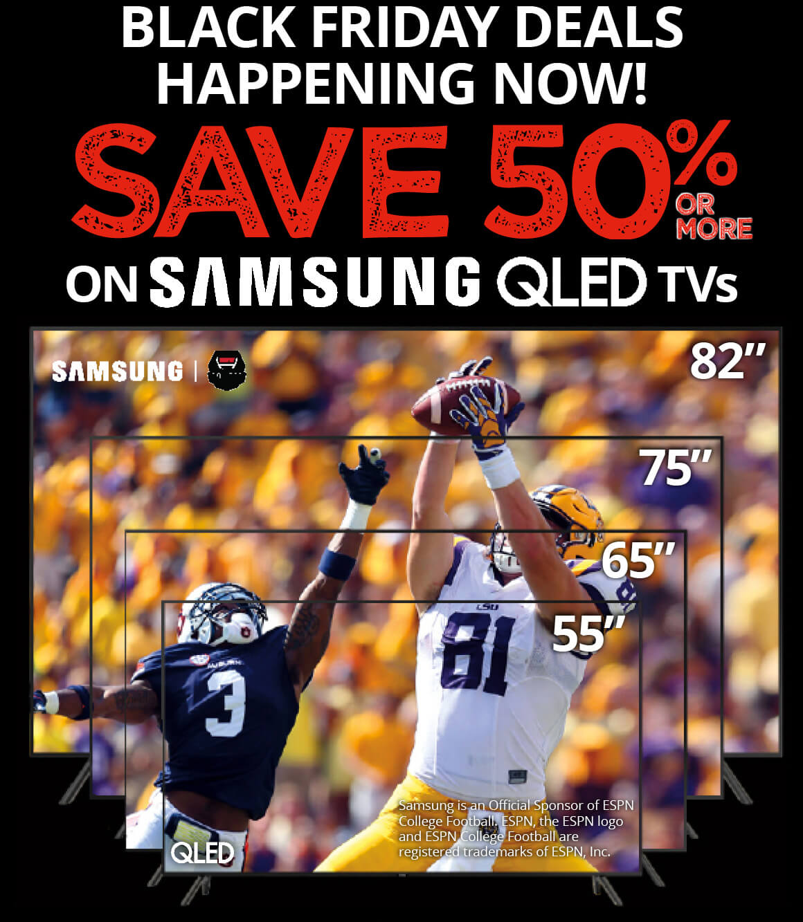 Save 50% or more on Samsung QLED TVs