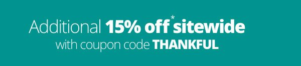 15% Off Sitewide Savings with coupon code THANKFUL
