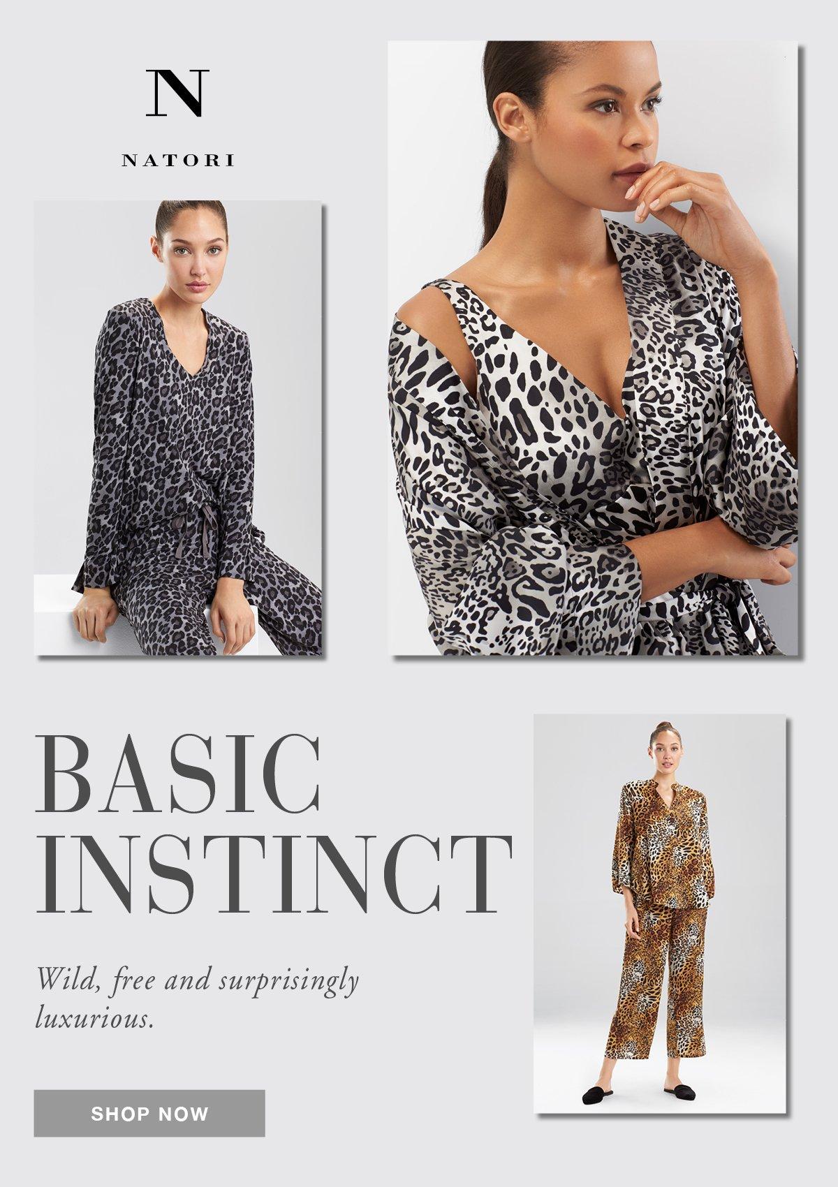 A model wears animal print sleepwear from N Natori