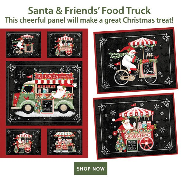 Santa & Friends' Food Truck | This cheerful panel will make a great Christmas treat! SHOP NOW