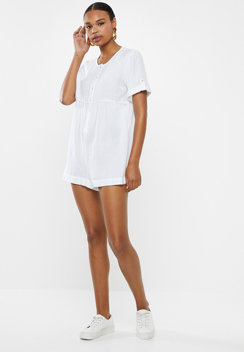 Woven brielle short sleeve playsuit - white