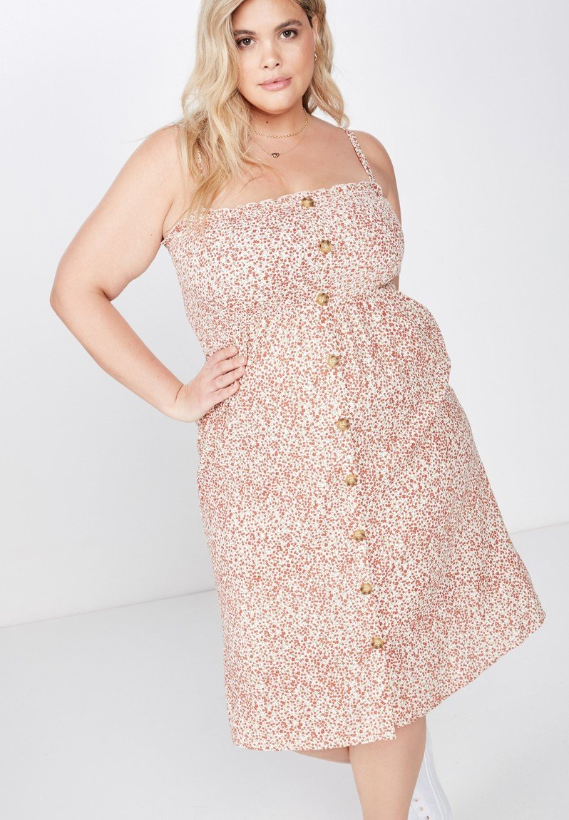 Curve shirred bodice button front midi dress - white & pink