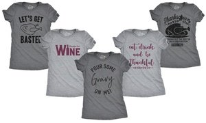 Women's Funny Thanksgiving Slim Fit Tees