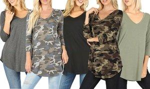 Women's V-Neck Round Hem Top. Plus Sizes Available
