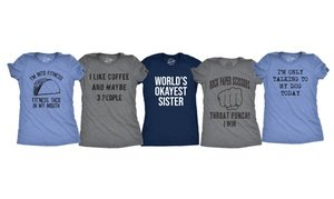 Women's Slim-Fitted Tees with Humorous Graphics