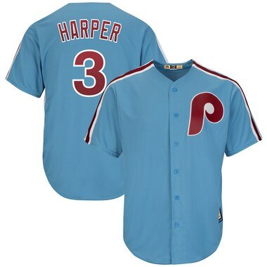 Bryce Harper Philadelphia Phillies Majestic Cool Base Cooperstown Player Jersey - Light Blue