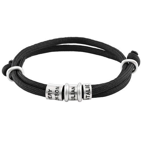 Koord heren armband met kleine/grote gepersonaliseerde kralen