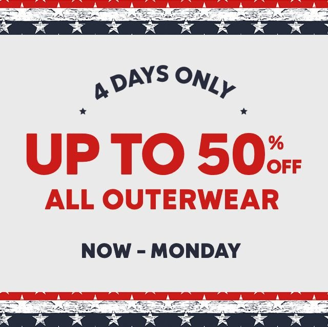 Up To 50 Percent Off All Outerwear