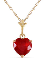 MAGNOLIA 14K Yellow Gold Heart Necklace With Ruby