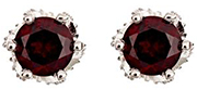 925 Sterling Silver Stud Earrings With Garnets