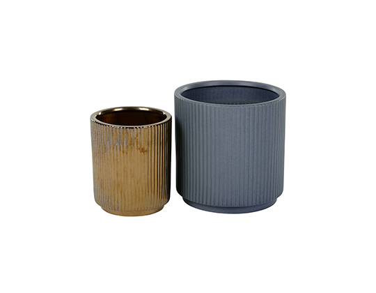 Palm Set Of Two Earthenware Planters